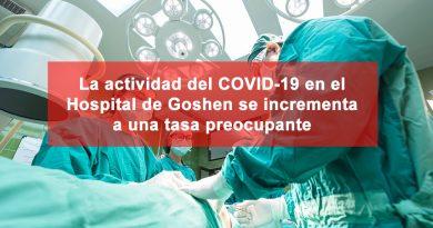 La actividad del COVID-19 en el Hospital de Goshen se incrementa a una tasa preocupante