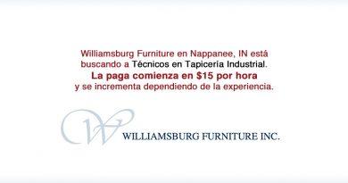 Williamsburg Furniture en Nappanee, IN está buscando a Técnicos en Tapicería Industrial.