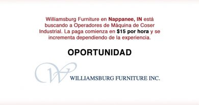 Williamsburg Furniture en Nappanee, IN está buscando a Operadores de Máquina de Coser Industrial.