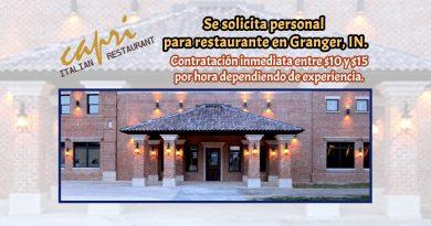 Se solicita personal para restaurante en Granger, IN.