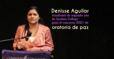 Denisse Aguilar, estudiante de segundo año de Goshen College gana el concurso 2021 de oratoria de paz