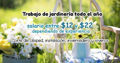 Trabajo de jardinería todo el año con salario ente $12 y $22 dependiendo de experiencia